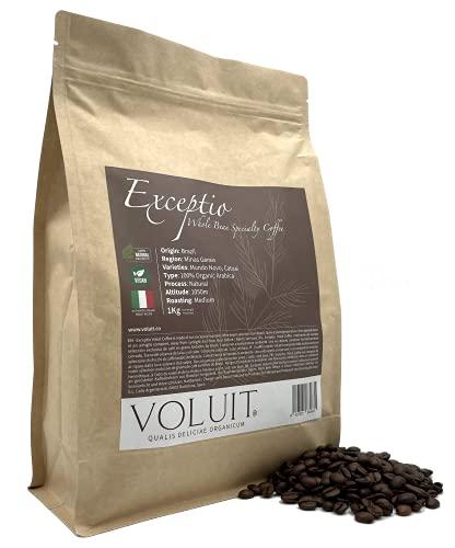 VOLUIT EXCEPTIO - Caffè Decaffeinato in Grani, Selezione Esclusiva | Caffè di Specialità in Grani 100% Arabica da Torrefazione Artigianale, Caffè Decaffeinato Premium | Torrefazione Artigianale - 1KG