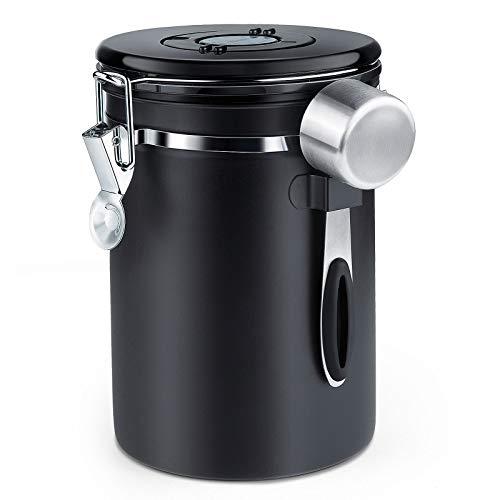 Récipient à café hermétique ZWOOS - Pot à grains de café avec valve de CO2 - avec tasse à mesurer - 1,8 L (noir)