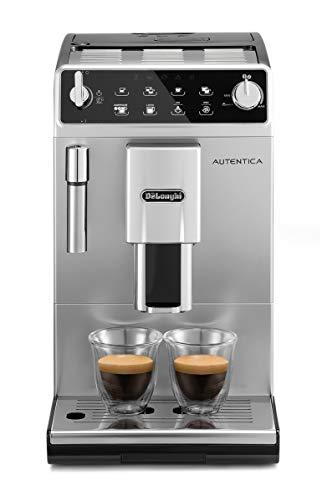 De Longhi Autentica ETAM29.510.SB Macchina da Caffè Automatica per Espresso e Cappuccino, 13 livelli di macinatura, Caffè in Grani o in Polvere, 1450 W, Argento Nero