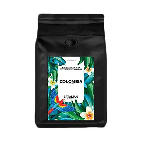 EATALIAN by AMZ BETTER Colombia, Caffè in Grani Tostati 1 kg, Monorigine Colombia, Caffe Pregiato dal Gusto Piacevole, 100% Arabica, Aroma Intenso, Made in Italy (Tostato e Confezionato in Italia)