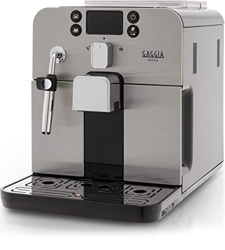 Gaggia RI9305 11 Brera - Macchina da Caffè Automatica, per Espresso e Cappuccino, Caffè in Grani o Macinato, 1400 W, Argento Nero