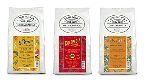 Corsini Caffè Compagnia dell Arabica Tris Caffè Brasile Colombia India 100% Arabica Caffè Torrefatto in Grani Tris Monorigine - Pacco da 3 x 250 g
