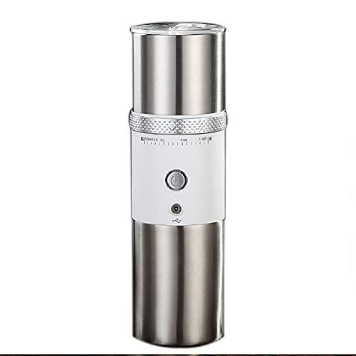 Moulin à café portable, machine à expresso portable, mini machine à café en acier pour bureau à domicile, voyage, camping, épaisseur de café réglable (blanc)