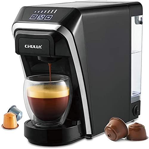 Machine à café à capsules CHULUX 2-en-1 compatible avec les capsules Nespresso et DG avec structure de capsule à compression automatique - noir