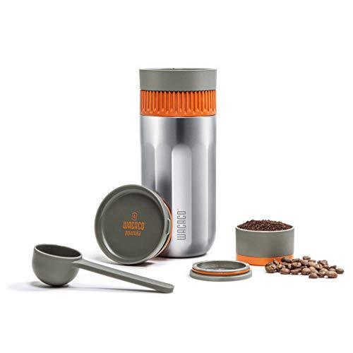Cafetière portative WACACO Pipamoka, mini cafetière manuelle de voyage, vide pressurisé, tirage rapide, bouteille thermique tout-en-un en acier inoxydable de camping, 10 oz liq.