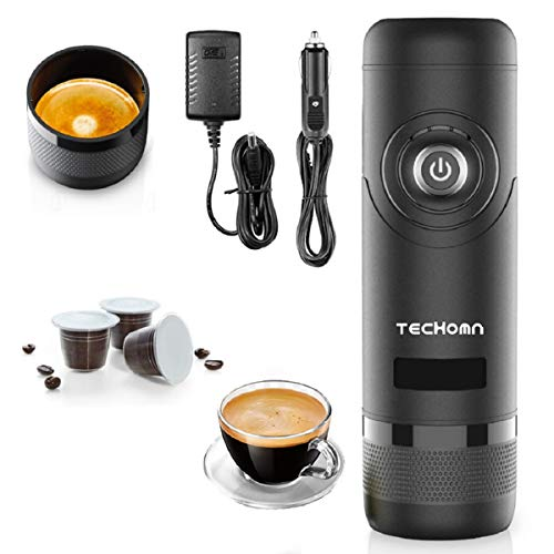 TECHOMN - Macchina da caffè portatile con suono a prova di perdite, macchina da caffè elettrica 12 V, macchina per espresso per viaggi, campeggio e auto