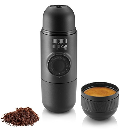 WACACO Minipresso GR, Macchina Caffè Portatile, Macchina Espresso Portatile, Compatibile con Caffè Macinato, Caffe Viaggio, Azionabile Manualmente con un Pistone, Perfetto per il Campeggio