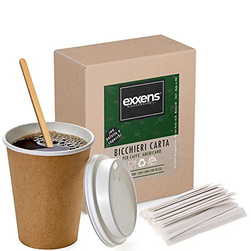 100 grands gobelets en papier avec couvercle à emporter et palette pour café américain, chocolat chaud, tisane, cocktail, cappuccino, tasse à café thermique (100)