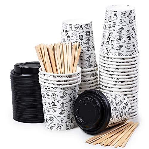 40 tasses à café en papier - tasse de 8 onces avec couvercle pour faire du café avec des repasseuses en bois pour faire du café, du thé, des boissons chaudes et froides