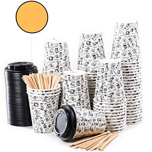 80 tasses à café en papier - tasse de 12 onces avec couvercle pour la préparation du café avec repasseuses en bois pour faire du café, du thé, des boissons chaudes et froides