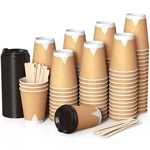 100 gobelets en papier kraft 360 mil assiettes à café à double paroi - tasse à café avec couvercle de 12 onces avec repasseuses à boissons chaudes en bois