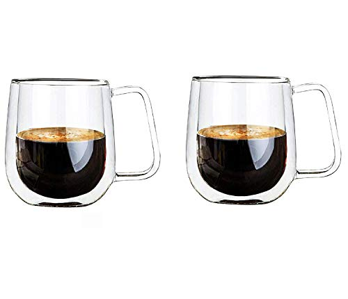 Tasse en verre à double paroi Vicloon, gobelet à tasses thermo-isolées, tasse en verre de 250 ml avec poignée, gobelets à eau pour thé, café, latte, cappuccino, expresso, bière transparente, lot de 2
