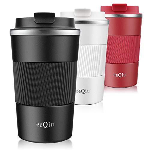 Couvercle étanche pour tasse de voyage isotherme eeQiu - Tasse de voiture en acier inoxydable 100% étanche pour café, lait et thé chaud et froid (noir)