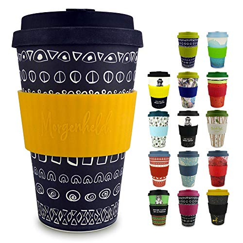 Morgenheld votre élégant verre en bambou | Verre à café à emporter | Verre de 400 ml avec couvercle en silicone et bracelet au design futuriste