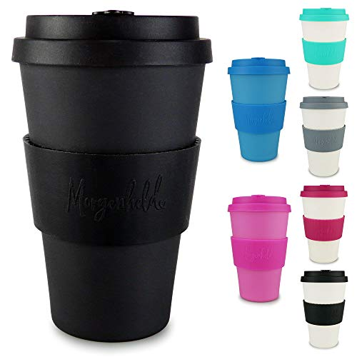 Morgenheld votre élégant verre en bambou | Verre à café à emporter | Verre de 400 ml avec couvercle en silicone et bracelet au design futuriste - Just Black