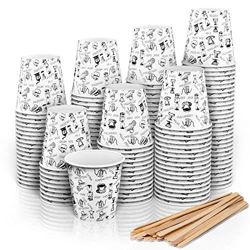 140 tasses à café en papier expresso 110 ml - Tasses à café en papier avec bâtonnets en bois à emporter - Tasses à café en papier de qualité