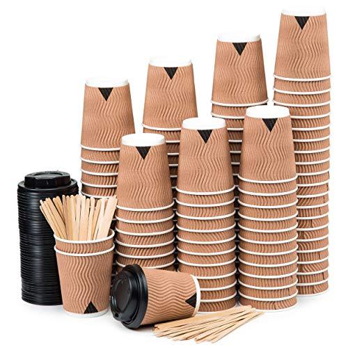 110 gobelets en papier 240 ml à double paroi Kraft Ripple - tasse avec couvercle pour faire du café avec sratrice en bois pour café, thé, boissons chaudes