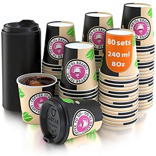 80 tasses à café en papier - Tasse à couvercle de 8 onces pour la fabrication de café avec des repasseuses en bois pour faire du café, du thé, des boissons chaudes et froides