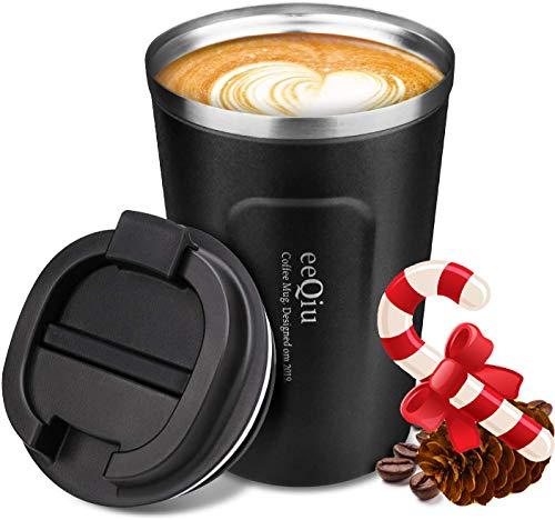 eeQiu Tasse à café 100% étanche 13 oz - Tasse de voyage en acier inoxydable - Couvercle isolé à double paroi pour tasse de voiture Tasse à café réutilisable écologique (noir)