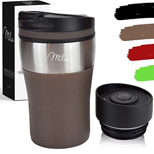 Tasse à café de voyage thermique Milu 210 ml - 100% étanche - Tasse à café et à thé à emporter isolée Tasse à boire thermique en acier inoxydable - Chaud et froid - Marron