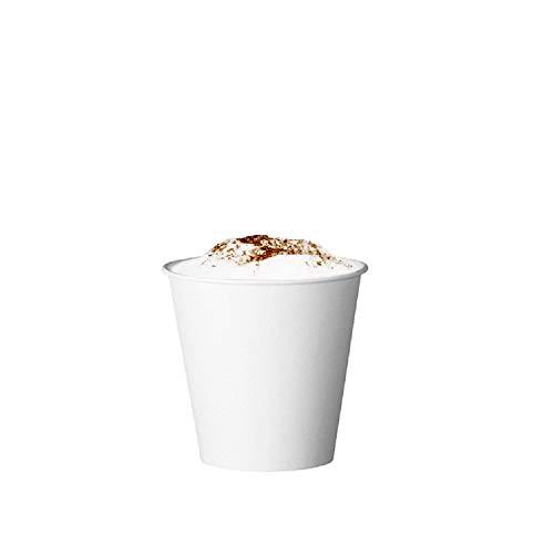 Skiokko - Ensemble de 120 ml 4 oz de 100 tasses à café en carton bio blanc, écologique pour machine à café expresso, ou tasse en papier jetable thermique américain, pour boissons chaudes et froides