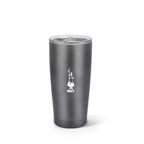 Tasse thermique à emporter Bialetti To Go, tasse de voyage (avec double paroi), garde au chaud pendant 12 h et au froid pendant 24 h, capacité de 550 ml, gris foncé, acier, gris foncé