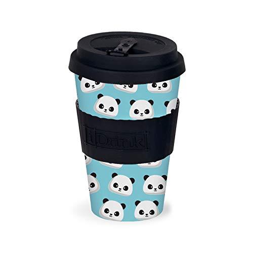 IDRINK® - Tasse en bambou / Tasse en bambou de voyage 435 ml (Panda)