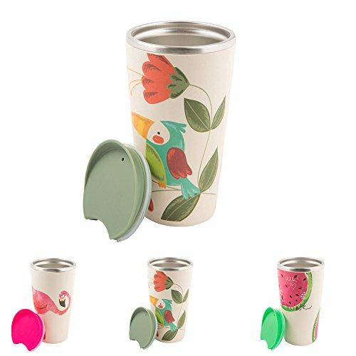 BIOZOYG Tasse à café à emporter en bambou durable avec noyau en acier inoxydable I Tasse de voyage avec couvercle Gobelet thermique en bambou I Tasse thermos isolée pour aller perroquet
