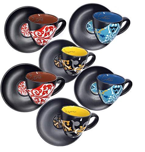 Subbizzu® Excellence 6 tasses à café particulières de Caltagirone Sicile Service en céramique colorée avec 6 soucoupes Design sicilien Espresso Vintage Coffee Cup Moka Gift