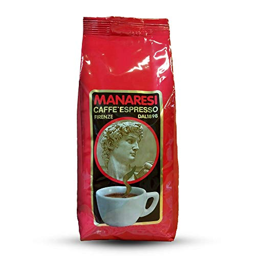 Café Manaresi en grains rouges italiens classiques, espresso italien, 1000 grammes