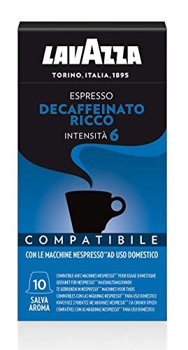 Lavazza, 100 capsules compatibles Nespresso, riche expresso décaféiné, 10 paquets de 10 capsules