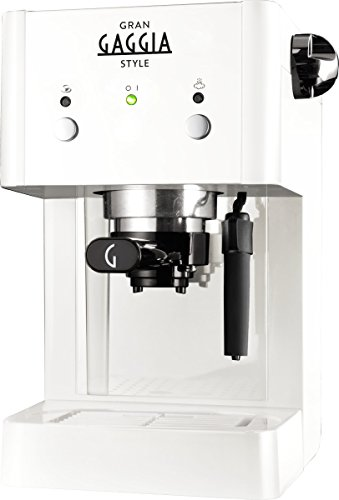 Gaggia RI8423 21 GranGaggia Style White - Macchina Manuale per il Caffè Espresso, per Macinato e Cialde, 15 bar, 1L, Bianco