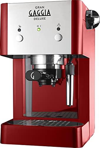 Gaggia RI8425 22 GranGaggia Deluxe Machine à expresso manuelle, café moulu et dosettes, 15 bars, couleur rouge