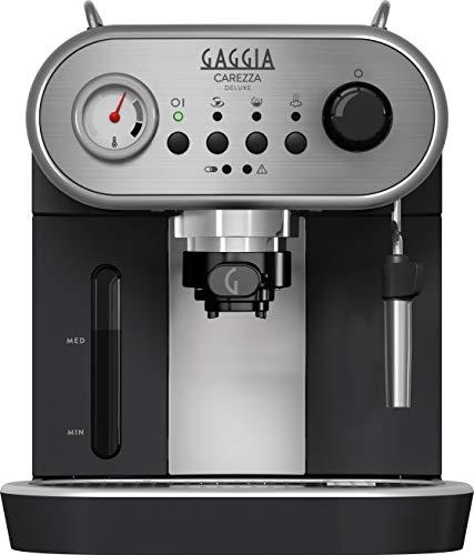 Gaggia RI8525 01 Carezza Deluxe Machine à café expresso manuelle, pour café moulu et dosettes, gris noir