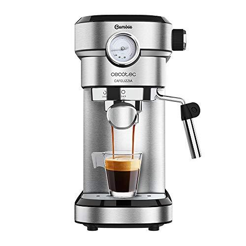 Machine à café Cecotec Cafelizzia 790 Steel Pro pour expresso et cappuccino. Manomètre, 1350 W, Système Thermoblock, 20 bar, Mode pour 1 et 2 cafés, vaporisateur orientable, Réservoir 1.2L