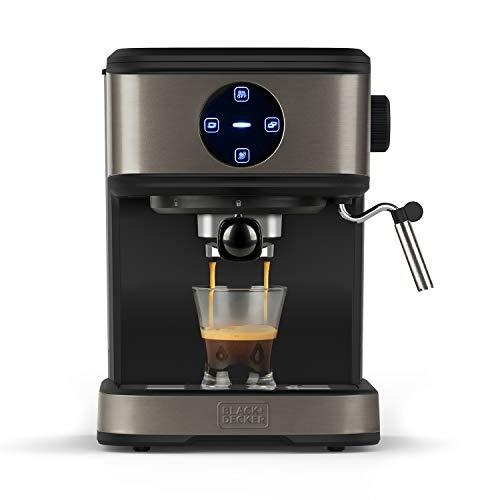 BLACK + DECKER BXCO850E - Machine à café expresso, 20bar, 1 ou 2 cafés, fonction vapeur, arrêt automatique, quantité programmable, système extra crème, 1,5l, finition inox anti-traces de doigts, 850W