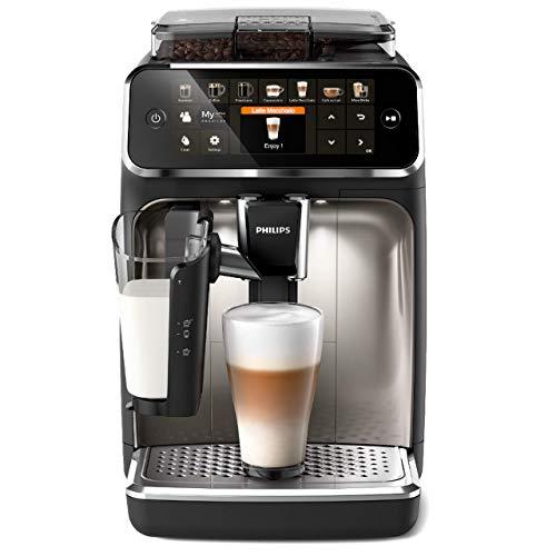 Philips 5400 Series LatteGo EP5447 90 Machine à café automatique avec moulins en céramique et filtre AquaClean, carafe LatteGo, 12 boissons, Noir