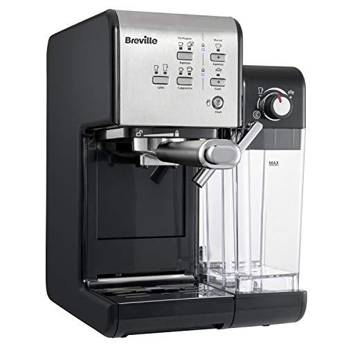 Breville PrimaLatte II VCF108X-01 - Macchina da caffè e espresso, pompa italiana da 19 bar, adatta per caffè in polvere o cialde | Montalatte automatico integrato | nero argento