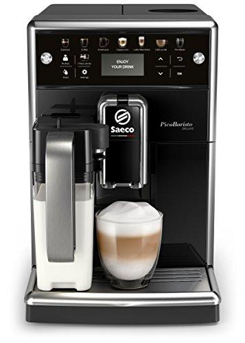 Saeco PicoBaristo Deluxe SM5570 10 Macchina da Caffè Automatica, con Caffè Americano e Display LCD a Colori, 12 Bevande, Macine in Ceramica, Filtro AquaClean, Caraffa Latte Premium Integrata, Nero
