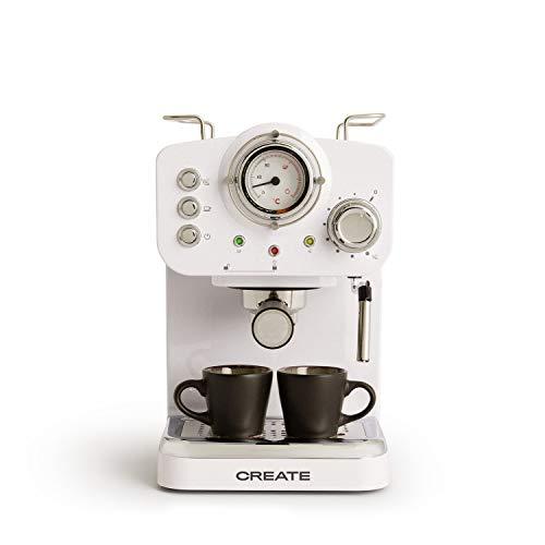 IKOHS THERA RETRO - Macchina del Caffè Express per caffè espresso e cappuccino, 1100 W, 15 bar, vaporizzatore regolabile, capacità 1,25 l, caffè macinato e monodose, con doppia uscita (Bianco)