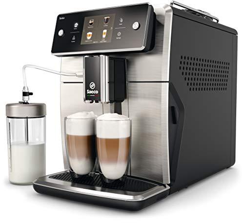 Saeco SM7683 10 Xelsis - Macchina da caffè completamente automatica con 15 specialità (touch screen, 6 profili utente), 18 8, acciaio INOX   nero