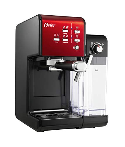 Oster Prima Latte II, Machine à café automatique 3 en 1 pour Espresso, Cappuccino et Latte mousseux, 19 barres, Rouge