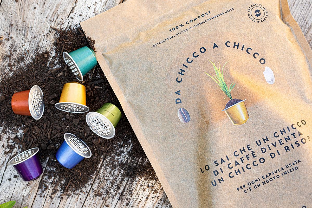 Des capsules au riz, le projet d'économie circulaire de Nespresso Italia Nespresso, le recyclage des capsules de café pour préserver l'environnement