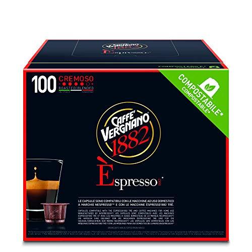 Caffè Vergnano 1882 Èspresso Cremoso, 100 Capsules, Compatible Nespresso, Compostable