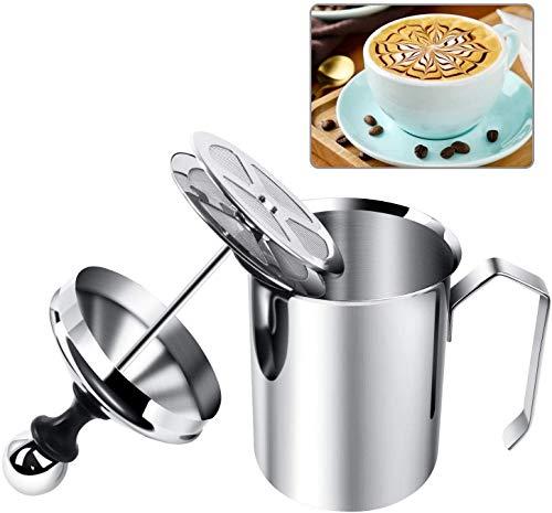 Montalatte manuale in acciaio inox, schiumatore a pompa per cappuccino, caffè latte e latte schiumato, brocca da 500 ml