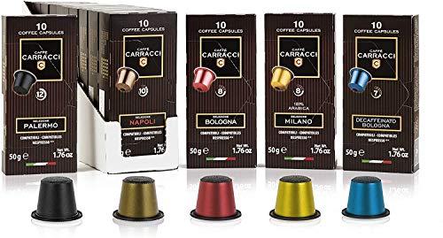 Café Carracci, capsules compatibles Nespresso, kit de mélanges assortis, 10 boîtes de 10 capsules (total 100 capsules)