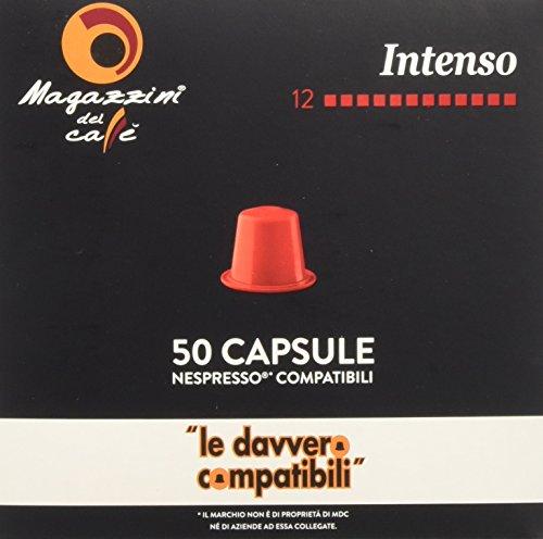 Magazzini del Caffè, 50 Capsules Compatibles Nespresso - Mélange Intense - Intensité 12 avec Arrière-Goût de Chocolat - 260 g