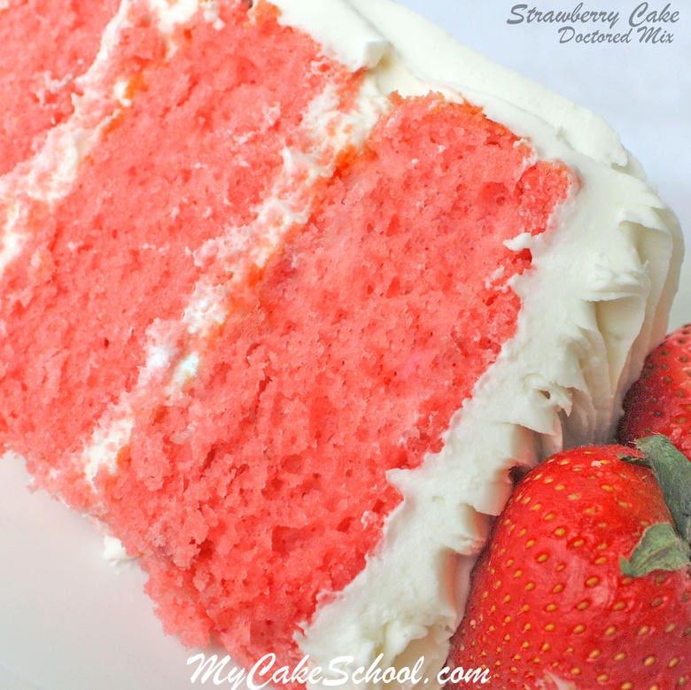 La MEILLEURE recette de gâteau aux fraises (mélange à gâteau préparé) par MyCakeSchool.com!