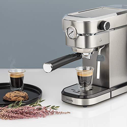 H.Koenig EXP820, Machine à café expresso italienne, manuelle avec pompe, pression 15 bars, en acier inoxydable Idéal pour café, cappuccino et moka, 1350W