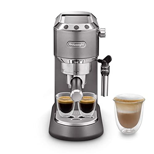 De Longhi Dedica Style EC785.GY Machine à café expresso Barista traditionnelle avec pompe, cafetière et cappuccino, gris